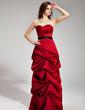 A-Linie/Princess-Linie Herzausschnitt Bodenlang Satin Brautjungfernkleid mit Rüschen Schleifenbänder/Stoffgürtel (007000980)