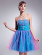 A-Line/Princess Sweetheart Short/Mini Taffeta Tulle Homecoming Dress With Ruffle Beading Sequins (022010478)