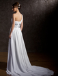 A-Line/Princess One-Shoulder Chapel Train Chiffon Wedding Dress With Ruffle Beading (002012661)