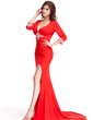 Trumpet/Mermaid V-neck Court Train Jersey Evening Dress With Beading Split Front (017022803)