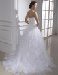 Ball-Gown Sweetheart Court Train Organza Wedding Dress With Lace Beading Cascading Ruffles (002015467)