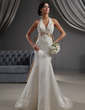 Trumpet/Mermaid Halter Chapel Train Satin Wedding Dress With Embroidered Sash Beading Appliques Lace Sequins Bow(s) (002022688)
