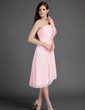 A-Line/Princess One-Shoulder Asymmetrical Chiffon Bridesmaid Dress With Ruffle Flower(s) (022015745)