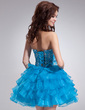 A-Line/Princess Sweetheart Knee-Length Organza Homecoming Dress With Embroidered Beading Cascading Ruffles (022009963)