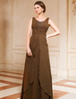 A-Line/Princess V-neck Floor-Length Chiffon Mother of the Bride Dress With Ruffle Beading (008024460)