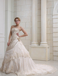 Ball-Gown Strapless Chapel Train Satin Organza Wedding Dress With Ruffle Lace Beading Crystal Brooch Flower(s) (002000356)