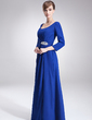 A-Line/Princess Scoop Neck Floor-Length Chiffon Mother of the Bride Dress With Ruffle Beading Split Front (008005702)
