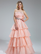 A-Line/Princess Scalloped Neck Floor-Length Organza Prom Dress With Beading Cascading Ruffles (018019465)