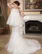 Trumpet/Mermaid Sweetheart Chapel Train Tulle Wedding Dress With Lace (002012066)