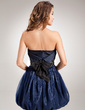 A-Line/Princess Strapless Short/Mini Taffeta Organza Homecoming Dress With Ruffle Sash Beading Sequins Bow(s) (022011284)
