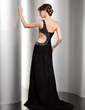 Trumpet/Mermaid One-Shoulder Sweep Train Chiffon Evening Dress With Ruffle Beading Sequins (017014486)