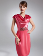 Sheath/Column Cowl Neck Knee-Length Charmeuse Cocktail Dress With Ruffle Beading (016021262)