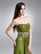 Çan/Prenses Kalp Kesimli Uzun Etekli Chiffon Mezuniyet Elbisesi Ile Büzgü Boncuklama (008015647)