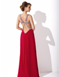 A-Line/Princess V-neck Floor-Length Chiffon Holiday Dress With Ruffle Beading Sequins Split Front (020025942)