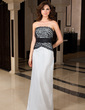 Sheath/Column Strapless Floor-Length Taffeta Lace Evening Dress (017039556)