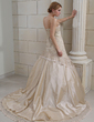 Ball-Gown Strapless Chapel Train Satin Wedding Dress With Ruffle Crystal Brooch Sequins (002011382)