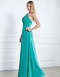 A-Line/Princess One-Shoulder Floor-Length Chiffon Bridesmaid Dress With Ruffle Beading (007004140)