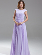 A-Line/Princess Scoop Neck Floor-Length Chiffon Kate Middleton Style With Ruffle Beading (044007571)