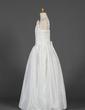 A-Line/Princess Floor-length Flower Girl Dress - Taffeta Sleeveless Square Neckline With Ruffles/Flower(s) (010016225)