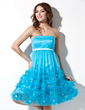 Empire Strapless Knee-Length Tulle Homecoming Dress With Ruffle Beading Flower(s) (022004338)