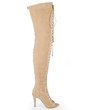 Real Leather Stiletto Heel Pumps Peep Toe Over The Knee Boots With Lace-up shoes (088055631)