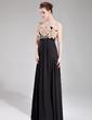 Empire Strapless Floor-Length Chiffon Evening Dress With Beading Flower(s) (017019764)