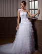 A-Line/Princess One-Shoulder Chapel Train Tulle Wedding Dress With Ruffle Beading Appliques Lace Flower(s) (002012004)