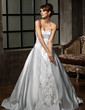 Ball-Gown Sweetheart Chapel Train Satin Wedding Dress With Embroidered Beading Sequins (002011397)