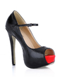Patent Leather Stiletto Heel Pumps Platform Peep Toe With Buckle shoes (085022629)