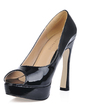 Patent Leather Chunky Heel Peep Toe Platform Sandals (085017479)