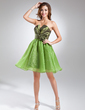 A-Line/Princess Scalloped Neck Short/Mini Taffeta Organza Cocktail Dress With Ruffle Beading Flower(s) (016015589)
