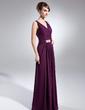 Çan/Prenses V Yaka Uzun Etekli Chiffon Gelin Annesi Elbisesi Ile Büzgü Boncuklama (008005965)