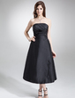 A-Line/Princess Strapless Tea-Length Taffeta Bridesmaid Dress With Ruffle Bow(s) (007004278)