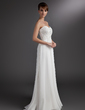 Chiffon Empire Sweetheart Sweep Train Bridesmaid Dress With Beaded Lace Appliques (007016772)