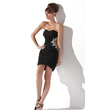 Sheath/Column Sweetheart Short/Mini Chiffon Homecoming Dress With Ruffle Beading Appliques Lace (022008979)