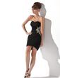 Wąska Kochanie Krótka/Mini Sukienka na Zjazd Absolwentów Z Żabot Perełki Naszywki (022008979)