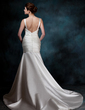 Trumpet/Mermaid Sweetheart Chapel Train Satin Wedding Dress With Ruffle (002001189)