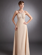 A-Line/Princess V-neck Floor-Length Chiffon Mother of the Bride Dress With Ruffle Beading (008006449)