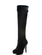 Suede Spool Heel Platform Knee High Boots With Rhinestone shoes (088033427)