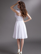 Empire One-Shoulder Knee-Length Chiffon Homecoming Dress With Ruffle Beading Flower(s) (022016272)