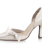 Women's Satin Stiletto Heel Closed Toe Pumps With Bowknot (047010760)