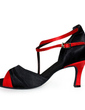 Women's Satin Heels Sandals Latin With Ankle Strap Dance Shoes (053006990)