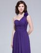 A-Line/Princess One-Shoulder Floor-Length Chiffon Bridesmaid Dress With Ruffle Flower(s) (007037272)