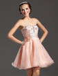 A-Line/Princess Sweetheart Short/Mini Organza Homecoming Dress With Ruffle Beading (022020869)