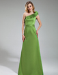 Sheath/Column One-Shoulder Floor-Length Satin Bridesmaid Dress With Cascading Ruffles (007019628)