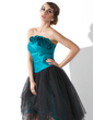 A-Line/Princess Strapless Asymmetrical Taffeta Tulle Prom Dress With Ruffle Flower(s) (018020955)
