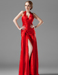 A-Line/Princess Halter Sweep Train Charmeuse Evening Dress With Ruffle Split Front (017020738)
