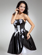 A-Line/Princess Strapless Knee-Length Satin Cocktail Dress With Appliques Lace Bow(s) (016014869)