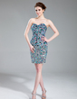 Sheath/Column Sweetheart Short/Mini Charmeuse Cocktail Dress With Beading (016019678)