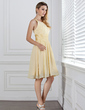 A-Line pleated Chiffon Knee-length Bridesmaid Dress With Charmeuse Sash (007004142)